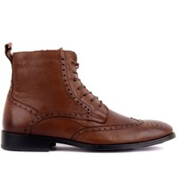 Sail Lakers Brown Genuine Leather Sole Leather Men Boots Lace up Zipper Autumn Winter Casual