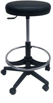 Stool WORK 5, Gas, Upholstered Similpiel Black Or White