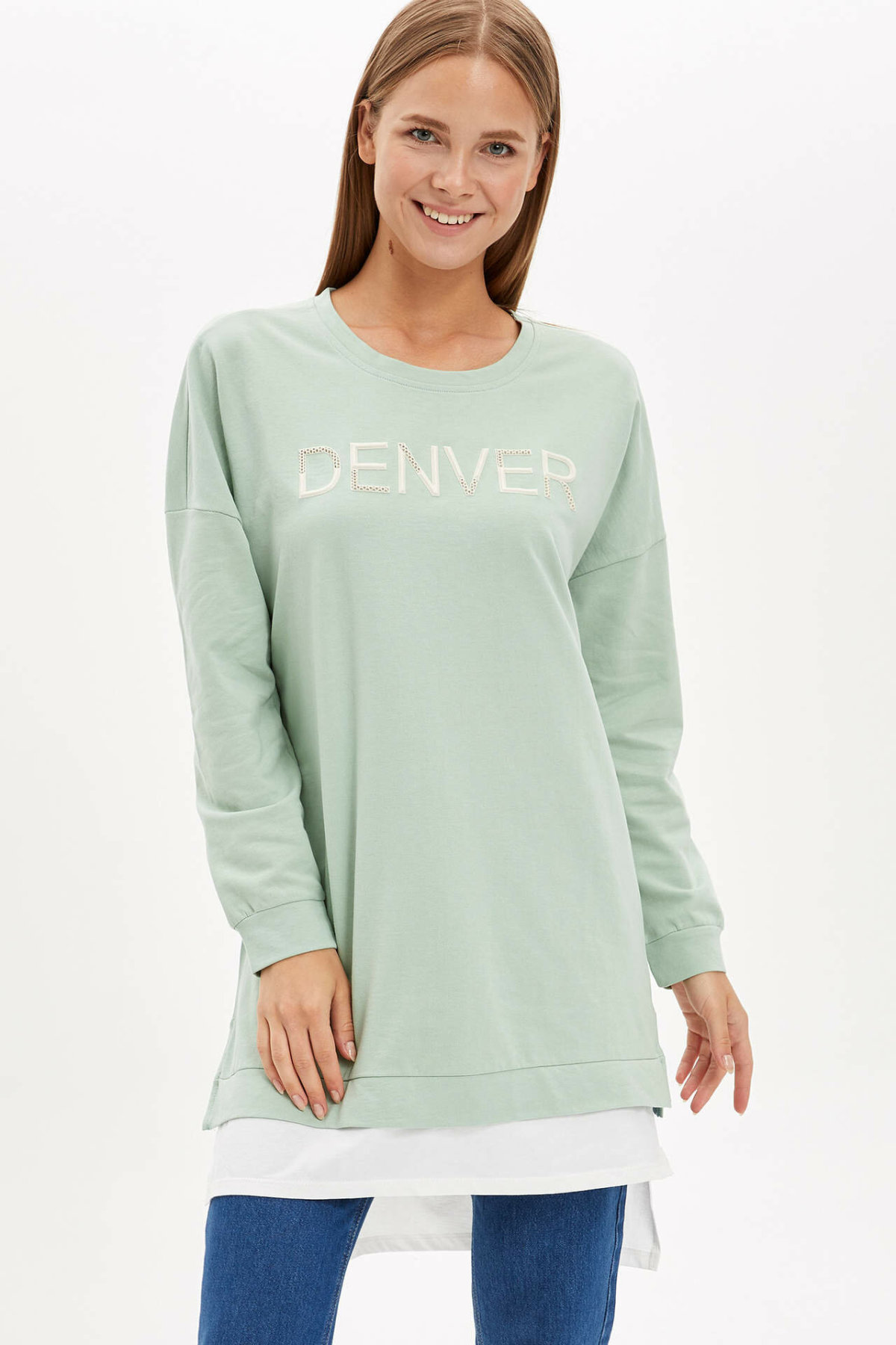 DeFacto Women Fashion O-neck Pullover Women's Casual Letter Prints Lady Comfort Long Tops Autumn Cloth - L3847AZ19AU