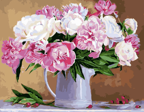 Painting By Numbers GX 29775 Peonies In A White Jug 40*50