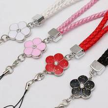 PU Leather Mobile Phone Strap Smart Phone Key Holder Ring Flower Lanyard Phone Accessory Cord Phone Hand Rope Keychain(China)