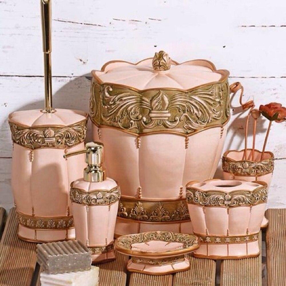 6 pièces salle de bain Suite ensemble fabriqué en turquie distributeur en relief toilette brosse à dents porte-savon accessoires mariage lavage dentifrice
