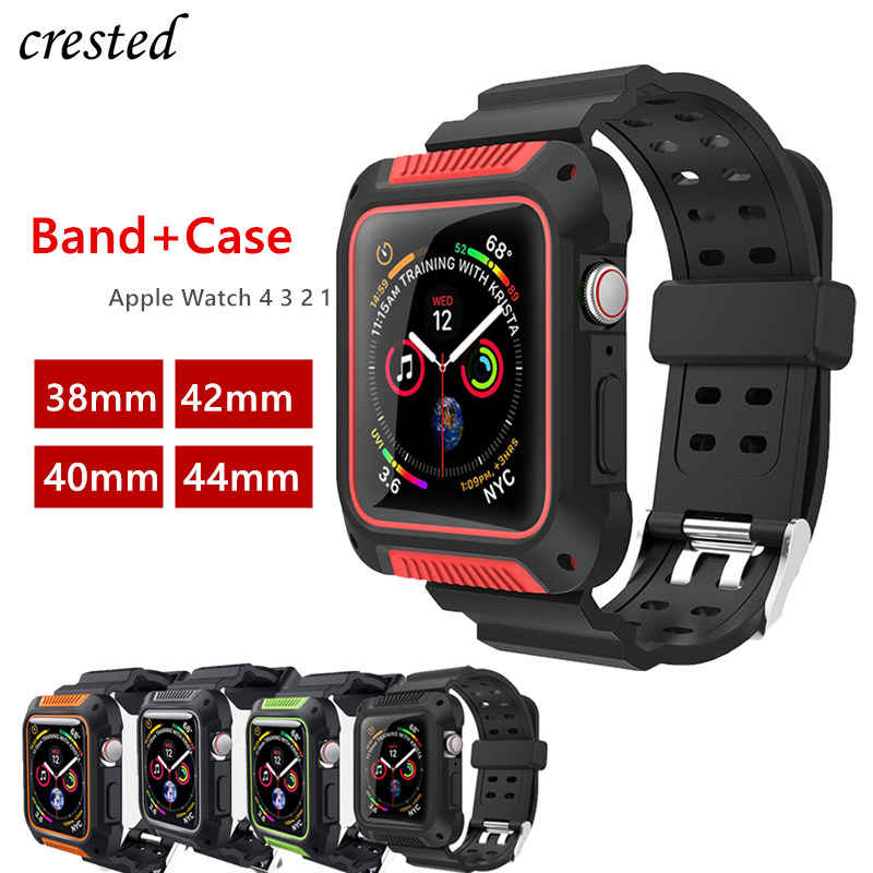 Case+strap For Apple Watch Band 44 Mm 40mm IWatch Band 38mm 42mm Silicone Protector Case+bracelet Apple Watch 5 4 3 2 1 38 42 40
