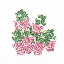 100pcs Iron On Patches for Clothing Appliques Cactus Plant Pot Garment Embroidered Patch Jeans Jacket Parches Stickers Patchwork