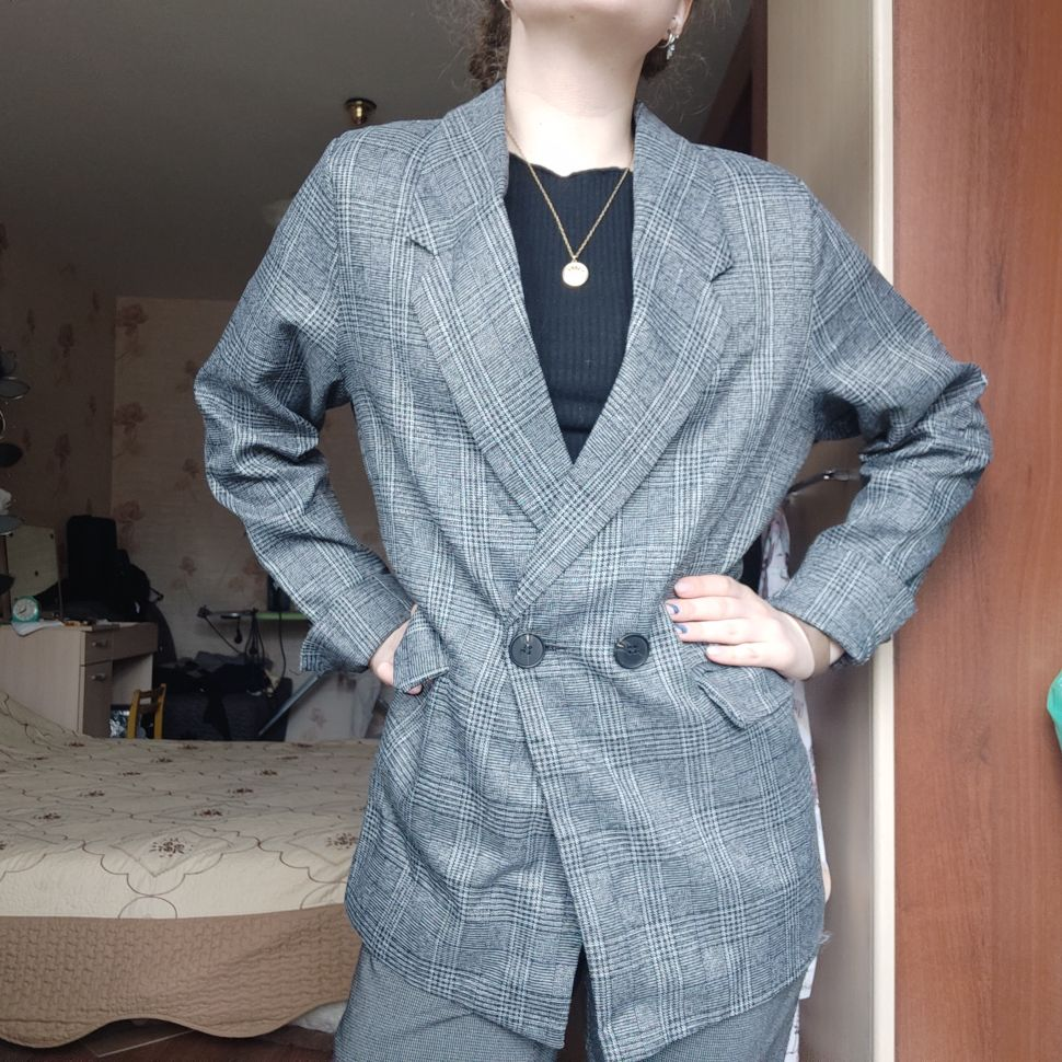 CBAFU autumn spring jacket women suit coats plaid outwear casual turn down collar office wear work runway jackets blazer N785 reviews №2 88699