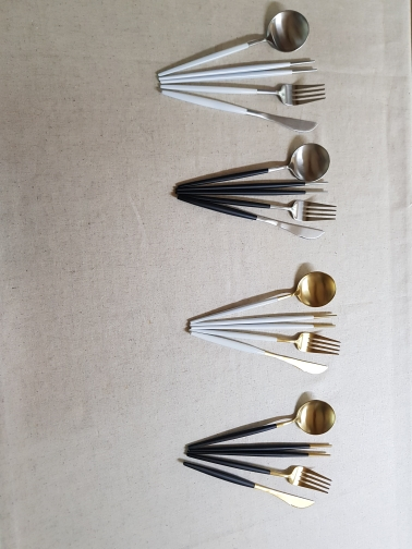 Colourful Noble Stainless Steel Cutlery Set in Silver/Gold