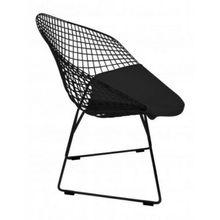 Кресло Bertoia ромбовидная текстура лакированная черная общая черная подушка