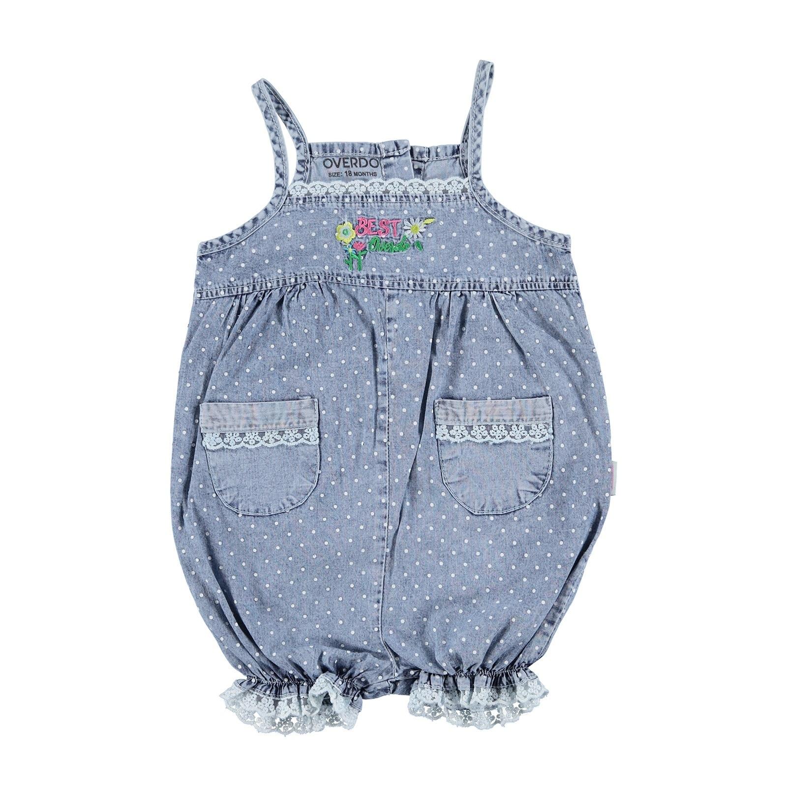 Ebebek Overdo Baby Girl Pocket Detailed Denim Short Romper