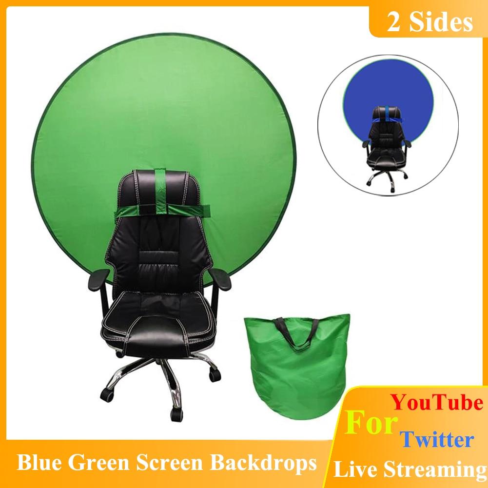 2 в 1 синий зеленый экран фоны фотография фон для YouTube прямая трансляция круглый 142 см фон складной отражатель