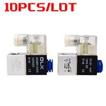 10pcs 2V025-08/06 For Air Solenoid Valve Pneumatic Control Valves Normally Closed DC 12V 24V 220V 110V 2 Way 2 Position