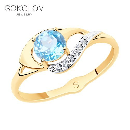 SOKOLOV Ring Gold With Topaz And Cubic Zirkonia Fashion Jewelry 585 Women's Male