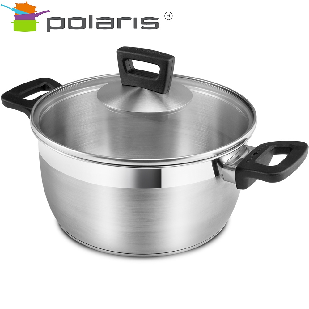 Saucepan with lid Polaris Rialto-24C Kitchen Pans Set of pans Induction pots Stainless steel pots Steel cookware Induction cookware Non-stick pan Pan with lid все цены