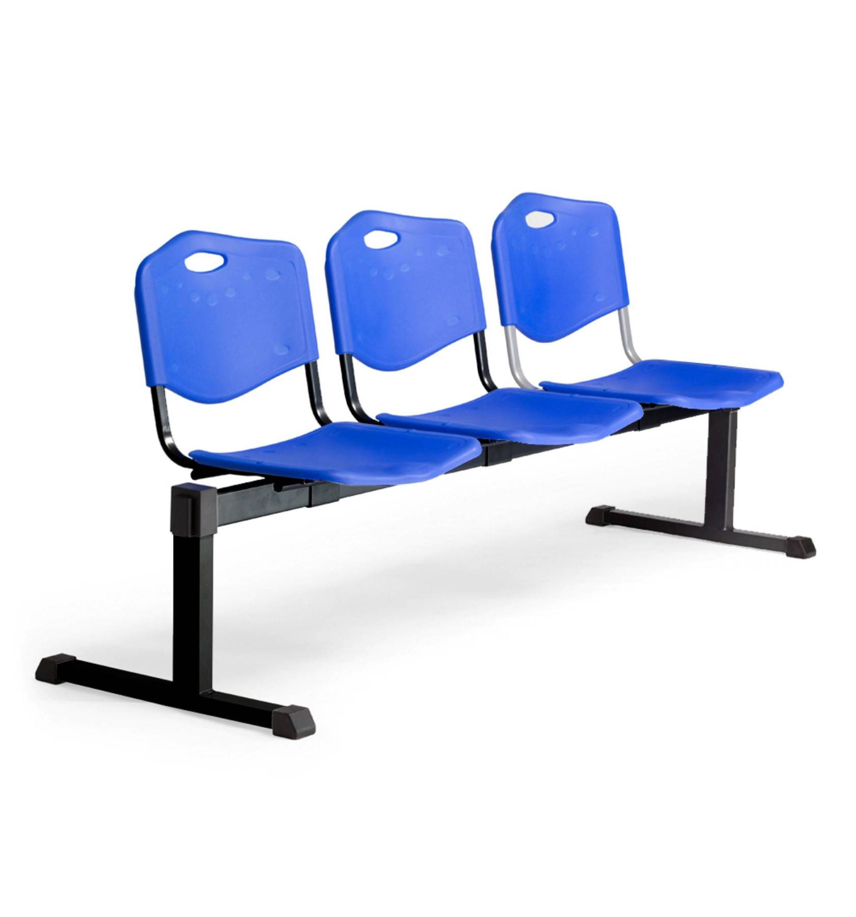 Bench Waiting Three Seater And Iron In Color Black-up Seat And Backstop's Structure In PVC Color Blue Taphole And