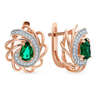 Gold earrings with emeralds and diamonds sunlight sample 585 test
