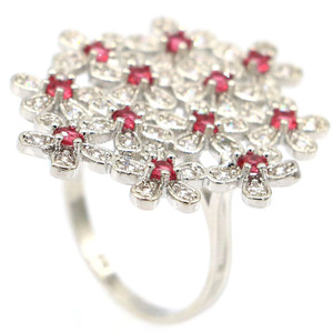 Image 3 - 32x28mm Gorgeous Created Flowers Pink Raspberry Rhodolite Garnet Zircon Gift For Ladies Wedding Silver Rings