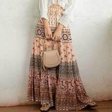 Сафари Макси-платье в стиле бохо юбка летняя юбка для женщин эластичная талия Цыганская юбка в стиле бохо длинная Новинка faldas