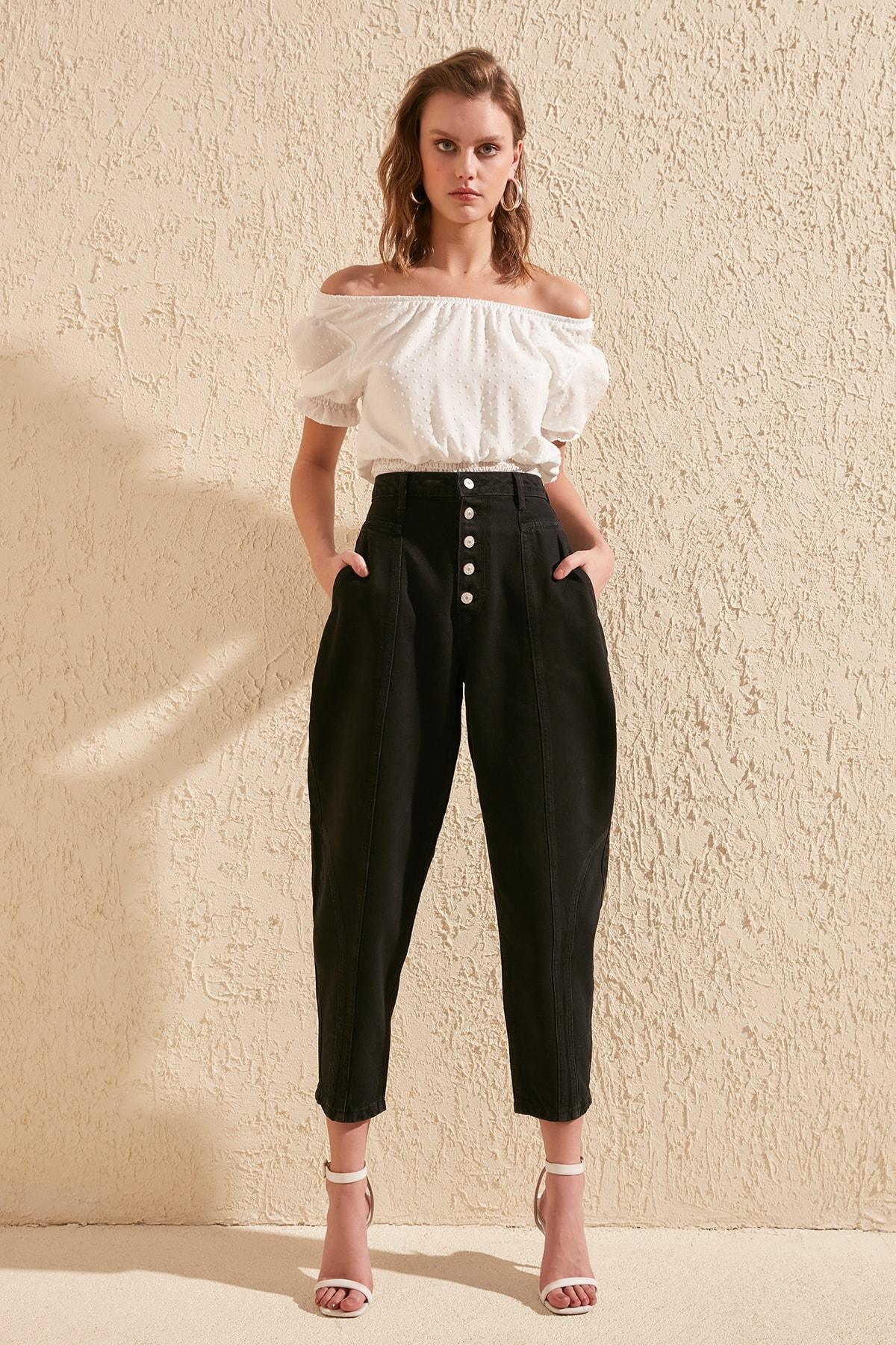 Trendyol Front Button High Waist Balloon Jeans TWOSS20JE0120