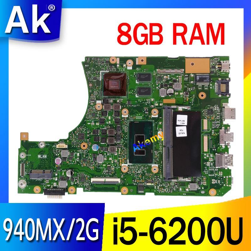 Akemy X556UQ Mianboard W/8G/i5-6200U GT940MX/2G pour ASUS X556UQK X556UQ X556UB X556UJ X556UF X556UV REV 3.1 carte mère d'ordinateur portable