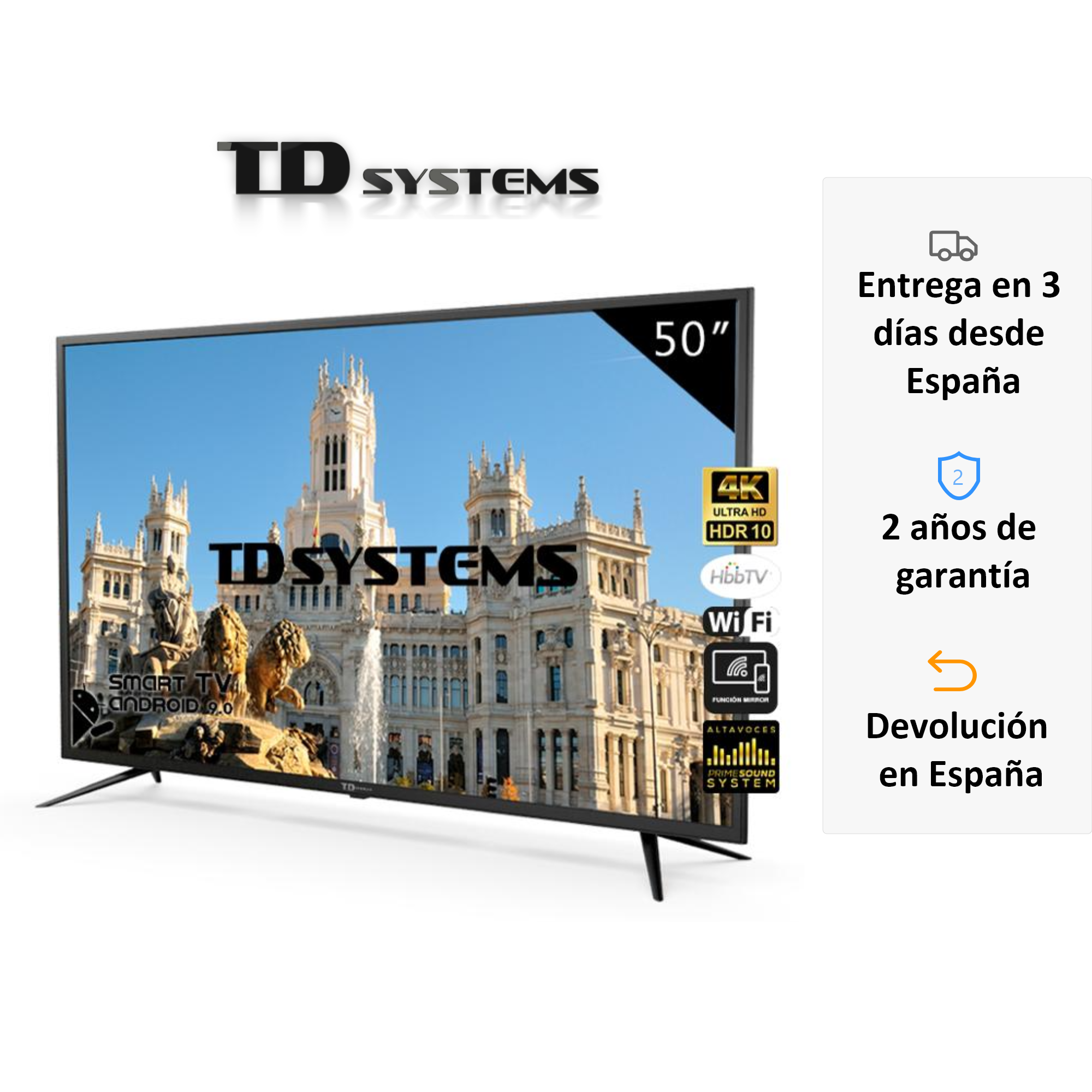 Televisions Smart TV 50 Inch TD K50DLJ10US Systems. UHD 4K HDR, DVB-T2/C/S2, HbbTV [Shipping From Spain, Guarantee Old 2]