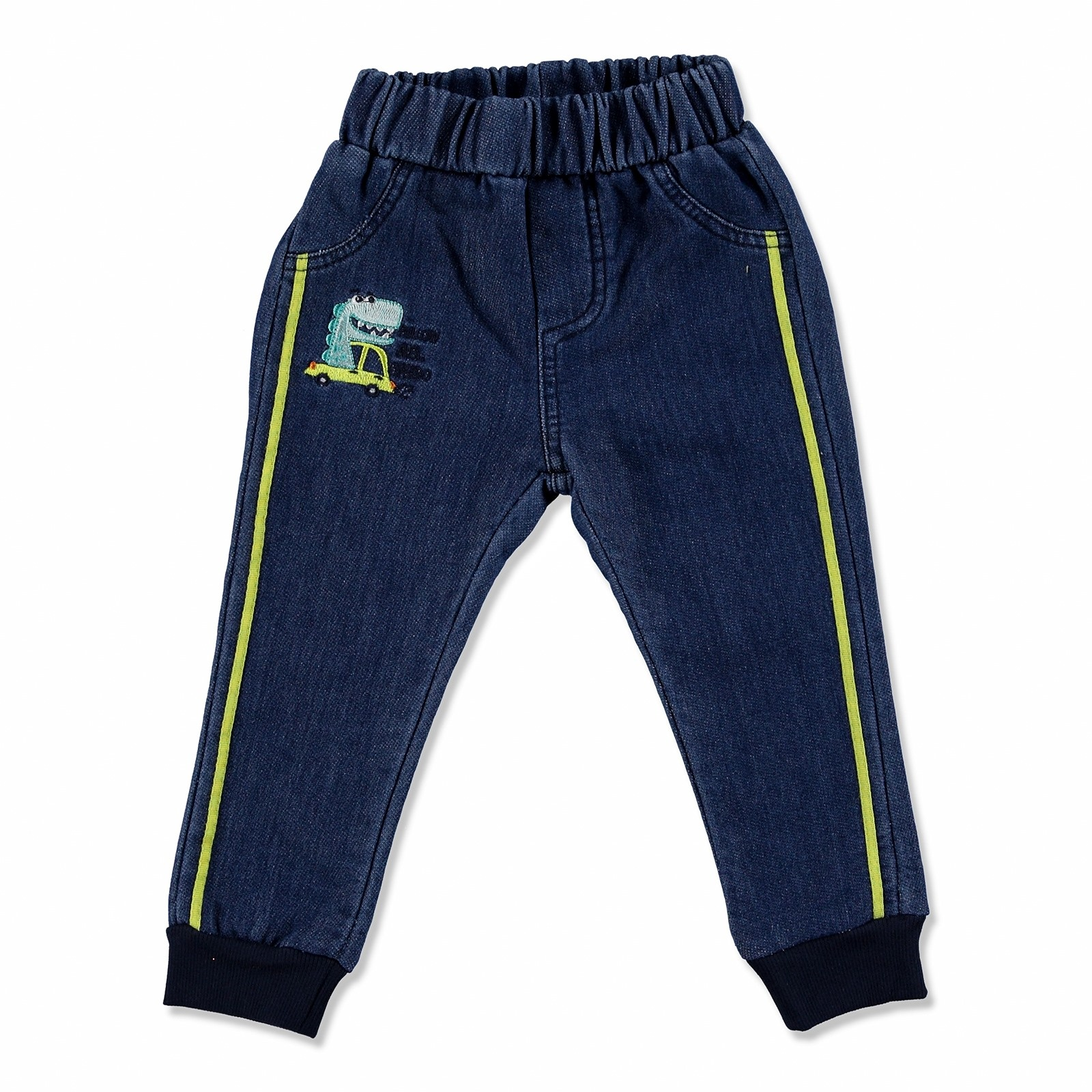 Ebebek Overdo Dino Embroidered Cotton Rib Baby Pants