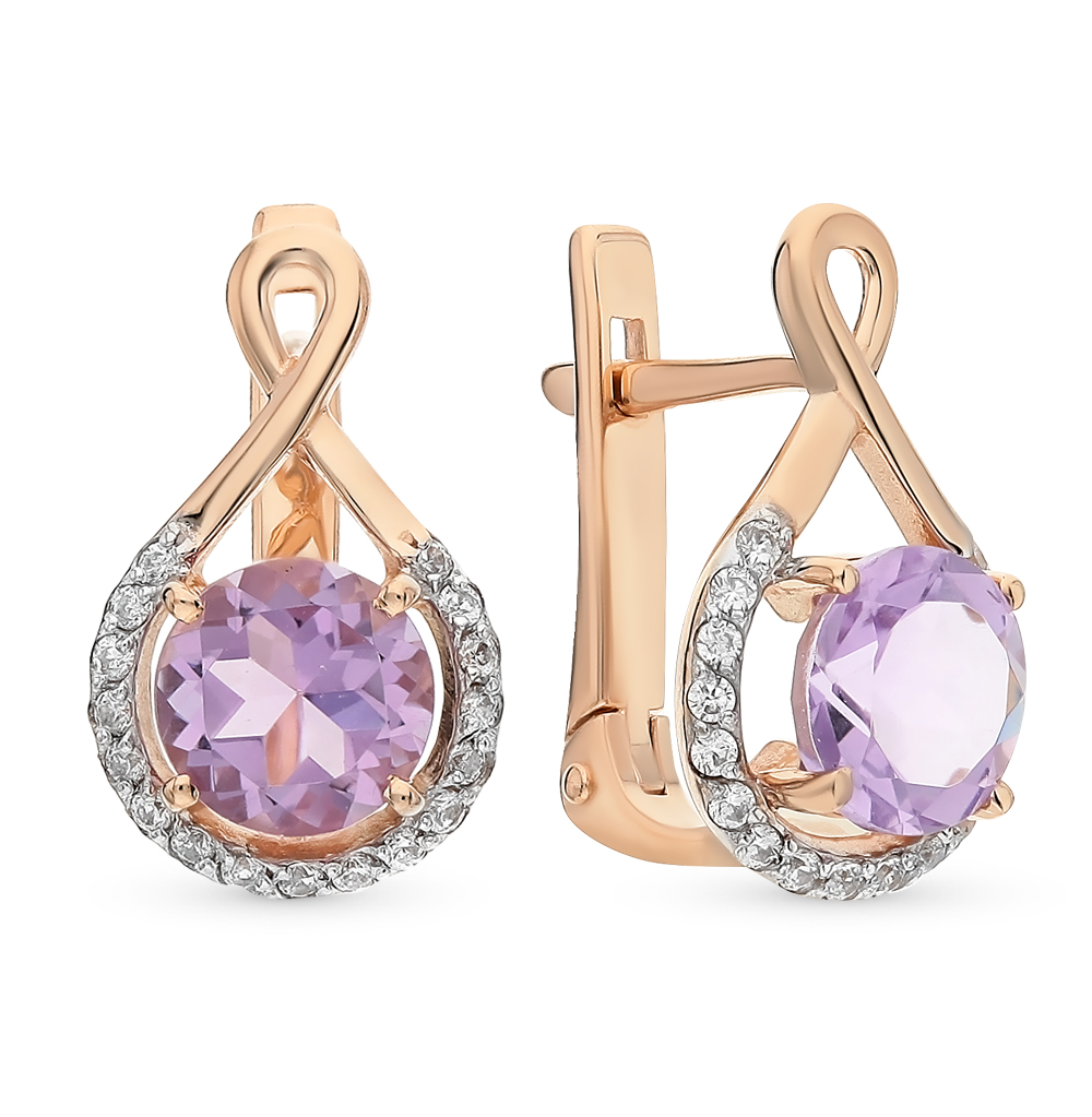 Gold Earrings With Amethyst And Cubic Zirconia Sunlight Sample 585