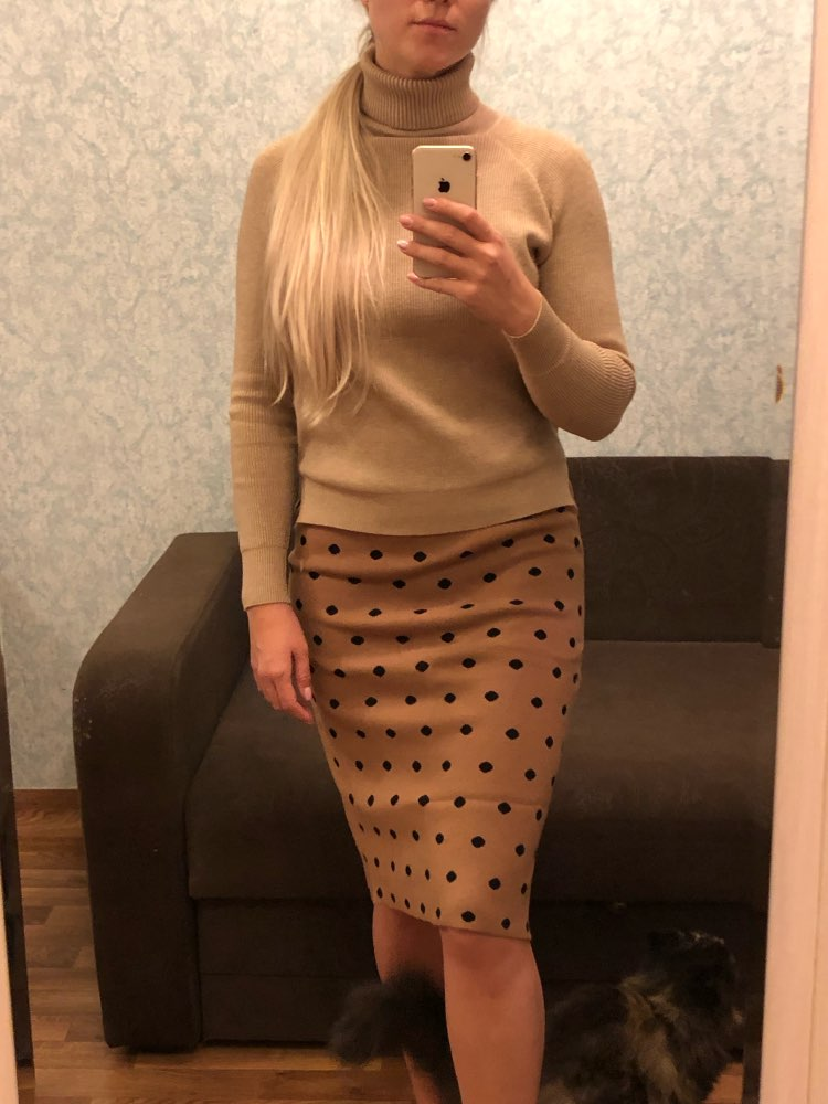 Autumn Women Skirts High Waist Knitting Women Bodycon Long Skirt Faldas Jupe Femme Saia Dots Print Women Sexy Pencil Skirt photo review