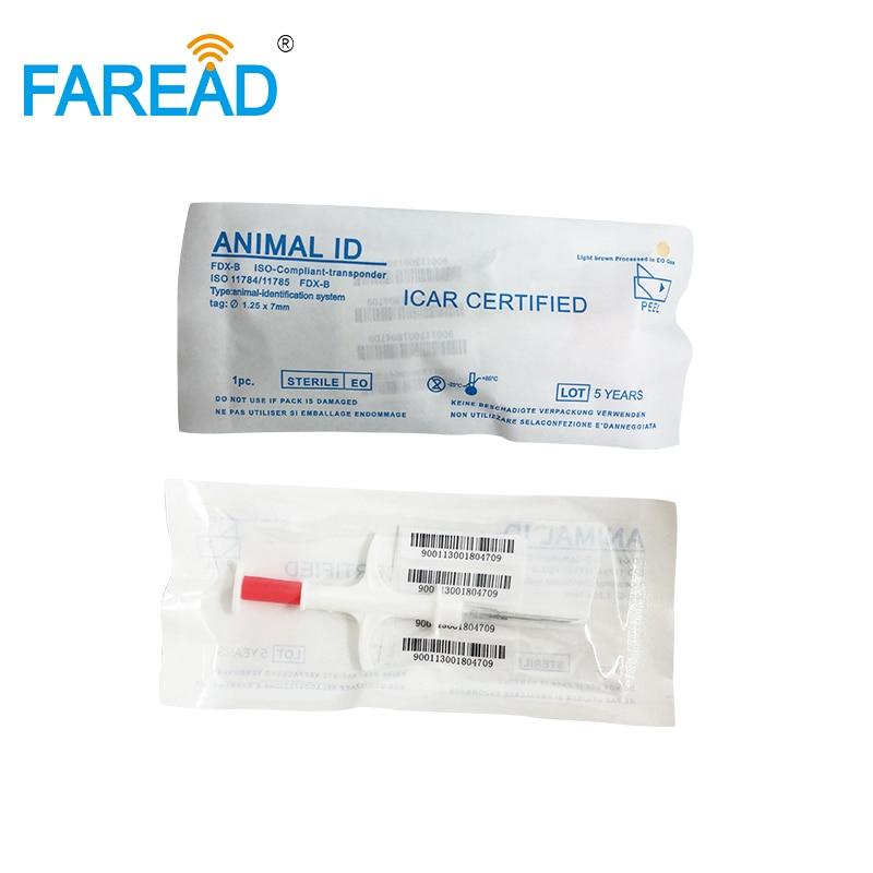 X60pcs Mini 1.25x7mm RFID Fish Microchip ISO FDX-B Syringe Pet Chip