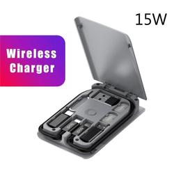 BUDI 다기능 유니버설 스마트 어댑터 카드 스토리지 박스 15W 무선 충전 아이폰 Xiaomi 여행 휴대용 스토리지 가방