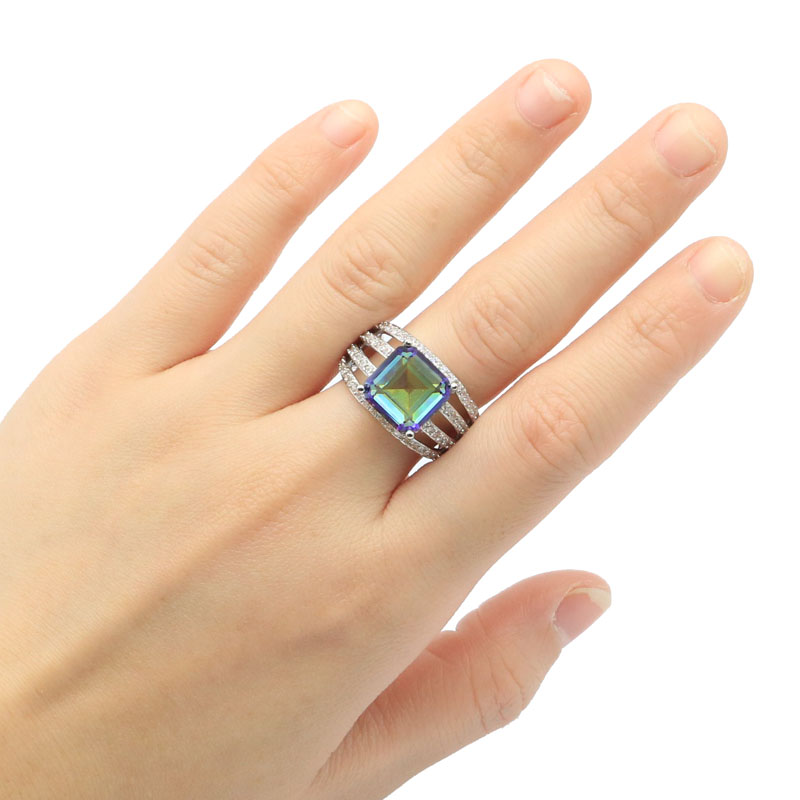 24x13mm New Arrival Created Fire Rainbow Mystic Topaz White CZ Gift For Sister Silver Rings