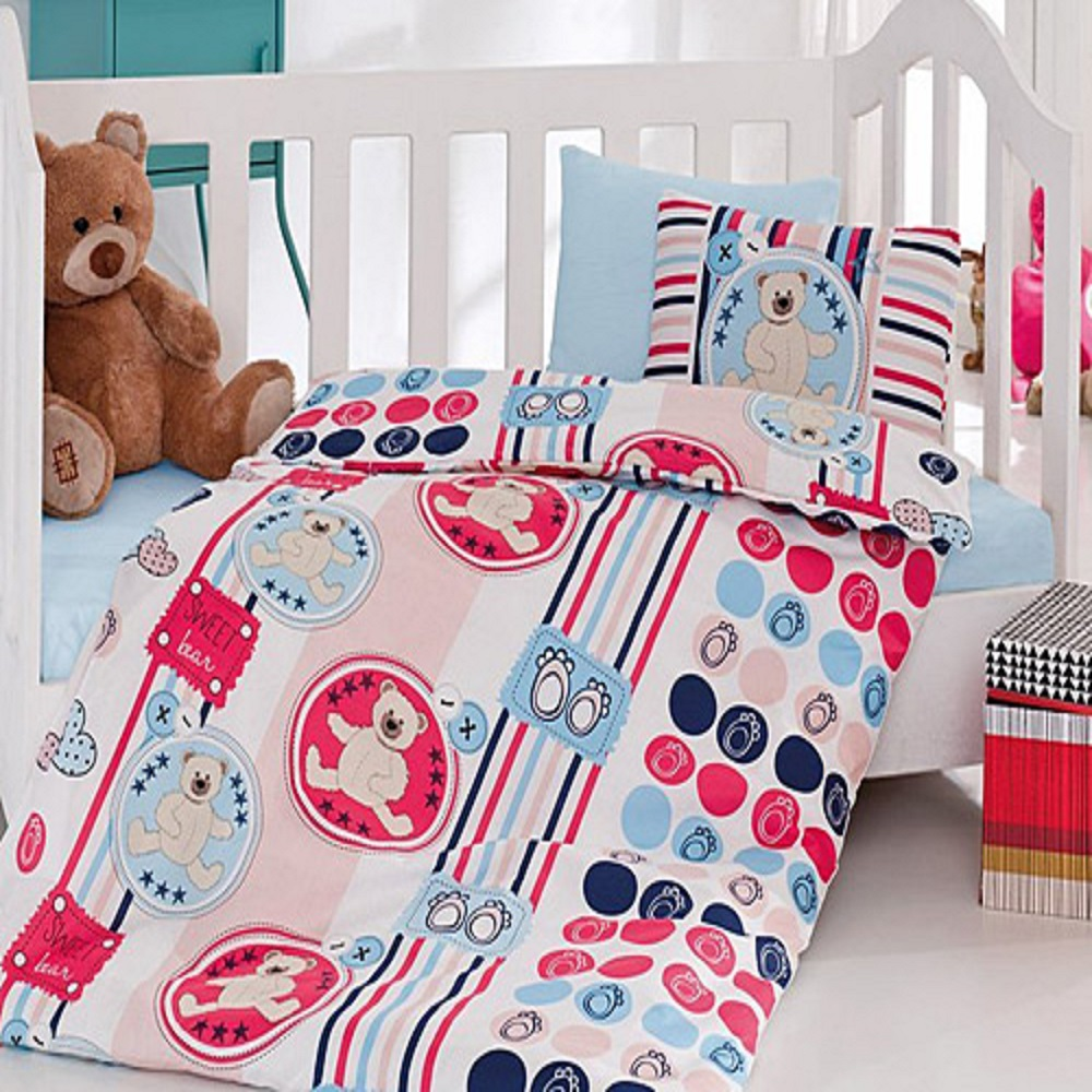 Made In Turkey FLUFFY Baby Bedding Duvet Cover Set Crib For Boy Girl Cartoon Animal Baby Cot Cotton Soft Antiallergic