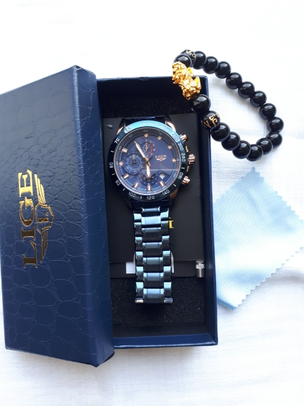 LIGE Men Watches Top Brand Luxury Stainless Steel Blue Waterproof Quartz Men Fashion Chronograph Male Sport Military Watch photo review