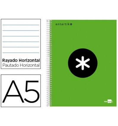 SPIRAL NOTEBOOK LEADERPAPER A5 MICRO ANTARTIK LINED TOP 120H 100 GR HORIZONTAL 5 BANDS 6 DRILLS GREEN FLUOUO
