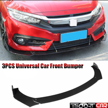 цена на 3PCS Universal Car Front Bumper black and Carbon Guard Protection For all cars Auto Protector Front Bumper Lip Splitter Cover