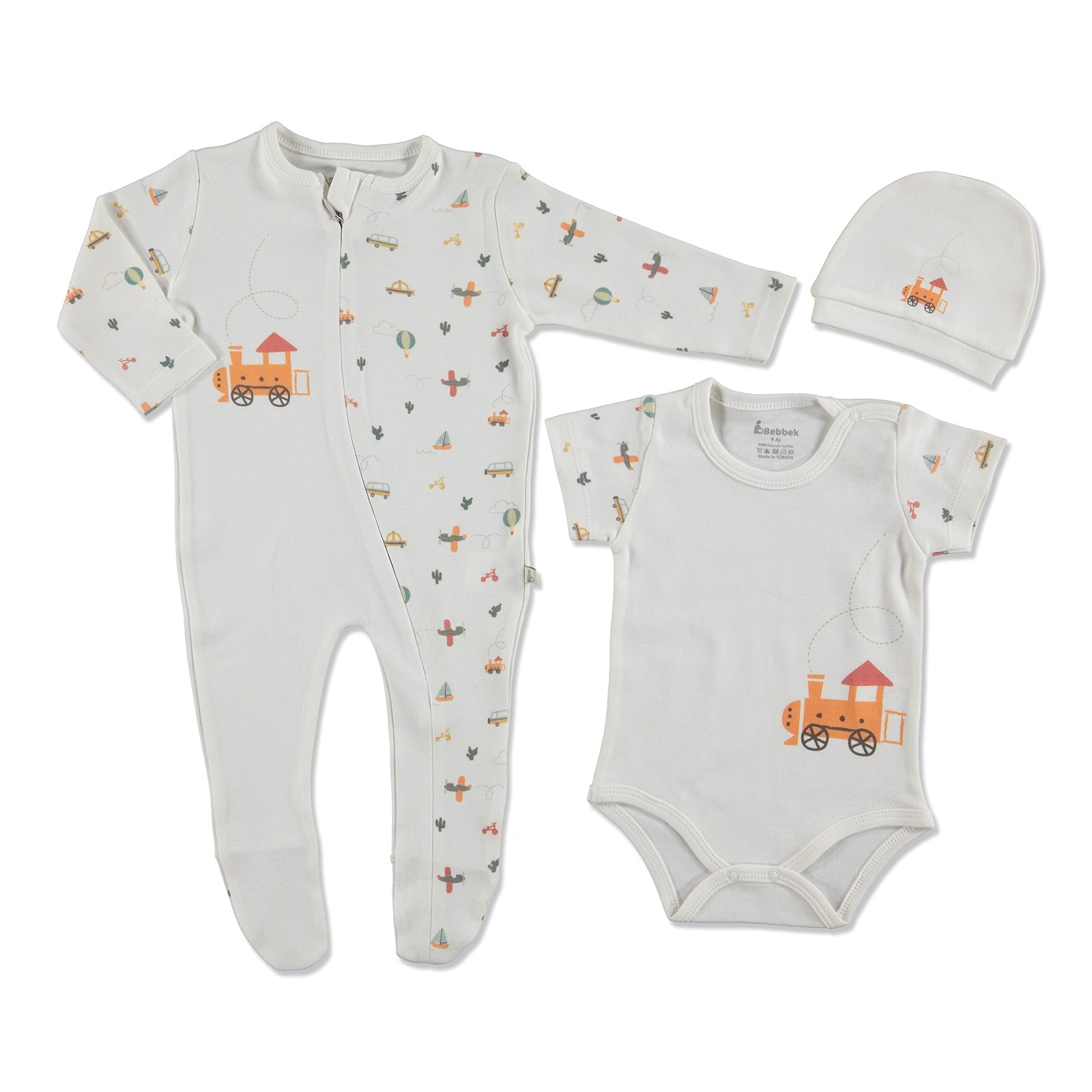 Ebebek Bebbek Summer Baby Boy Train Romper Bodysuit Hat 3 Pcs Set