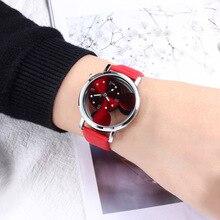 купить WJ-4766 Simple Fashion Mickey Mouse Leather Watch Rhinestone Women Buckle Watches Hollow Quartz Wristwatch relogio feminino дешево