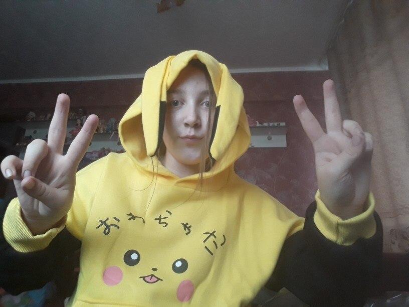 Women Pokemon Pikachu Print Hoodies Anime Kawaii Girls Cute Long Ears Oversized Hooded Sweatshirts Plus Velvet Autumn Pullovers photo review
