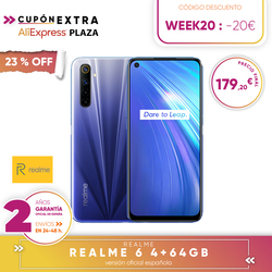 [Official Spanish version warranty] Realme 6 4  64gb, 4  128gb, 8  128gb Smartphone Octa Core, Four camaras, reader side paw prints