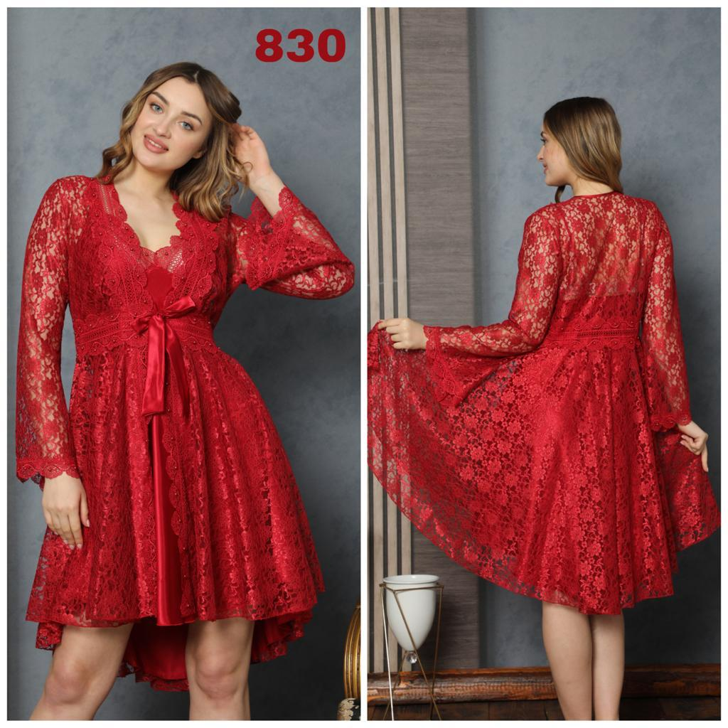 Women Nightgown Dressing Gown Suit Short Lace Red Lingerie Wear Comfortable At Home Bed Sexy Warm Sizes M L XL