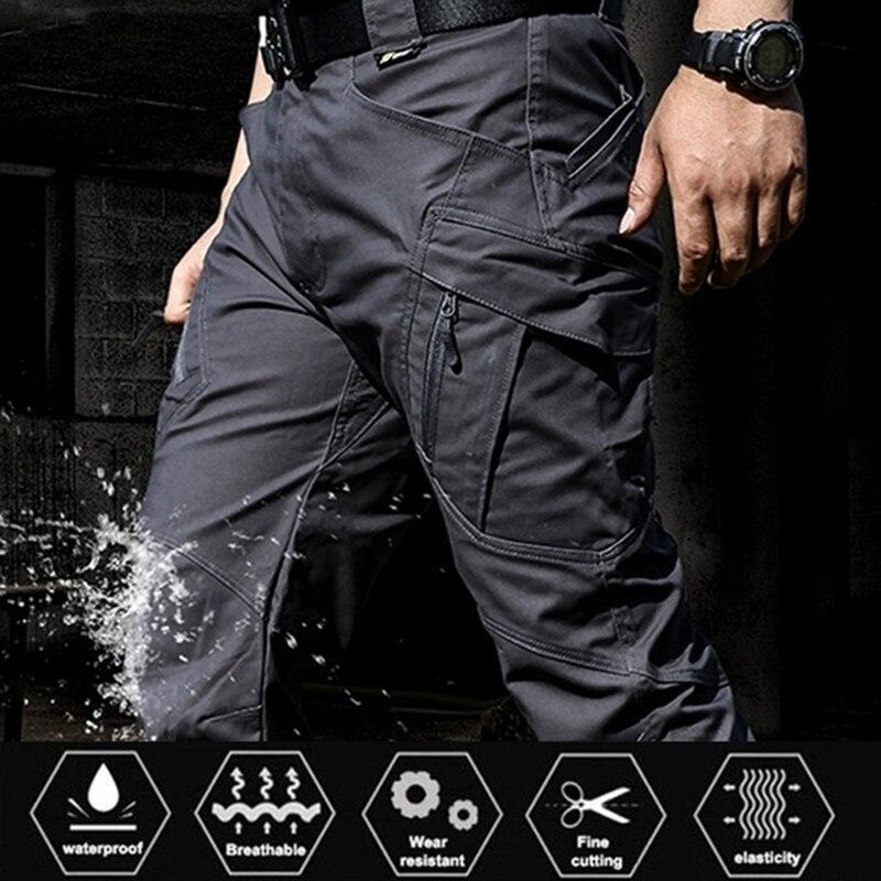 Городские военные повседневные брюки-карго, эластичные уличные армейские брюки, мужские тонкие, с множеством карманов, водонепроницаемые, ...