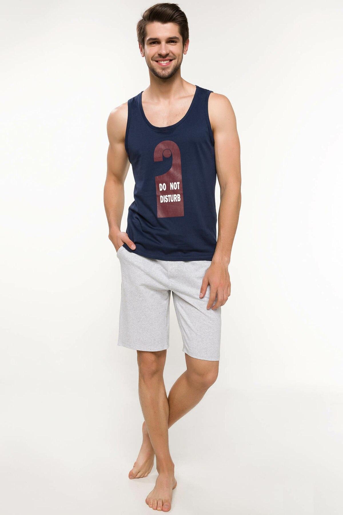 DeFacto Fashion Man Knitted Sets Male Casual Pattern Print T-shirt Short Pants High Quality Summer New - I9004AZ18SM