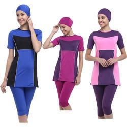 Argisa 7026 Two-color Short Hijab Swimwear 46-52 Plus Size Muslim Hijab Islamic Swimsuit Swim Burkinis Half Cover