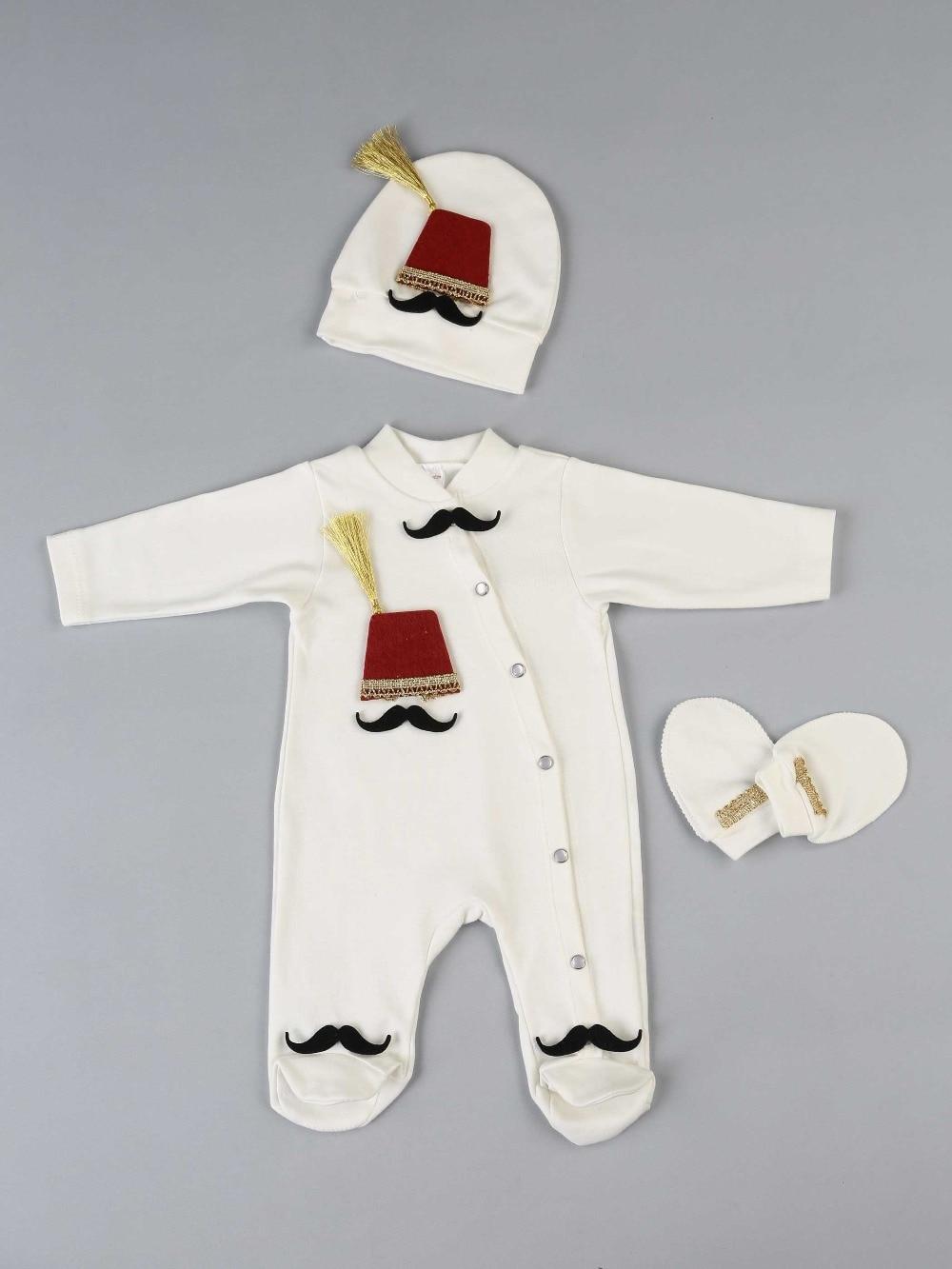 083-556-027 Beyaz Fesli  Erkek Bebek 3 lü Tulum seti (1)