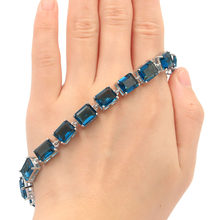 10x8mm Charming Dark London Blue Topaz Gift For Ladies Silver Bracelet 8.5-9.5inch(China)