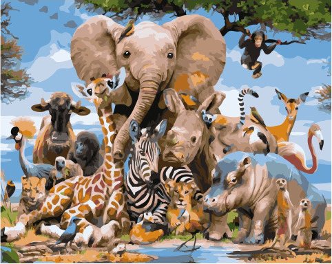 Painting By Numbers GX 34487 A Variety Of Animal World 40*50