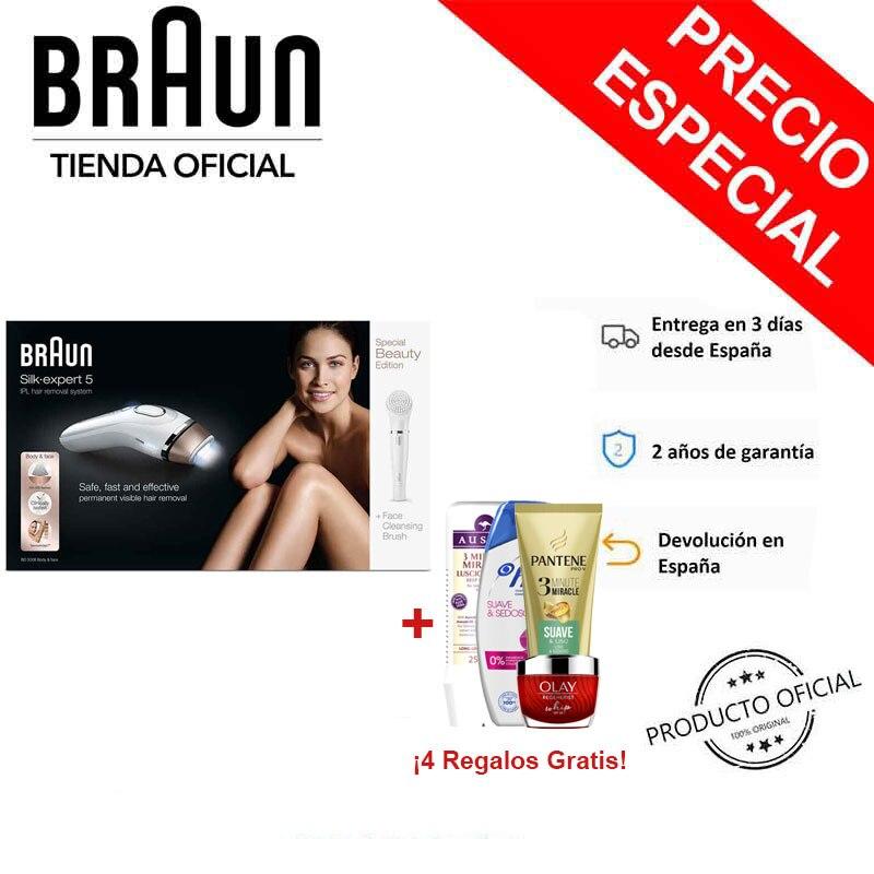 Braun silk-expert 5 ipl bd 5008 depilador pulsado luz-remoção permanente do cabelo, 300 000 tiros, sensoadapt, modo macio