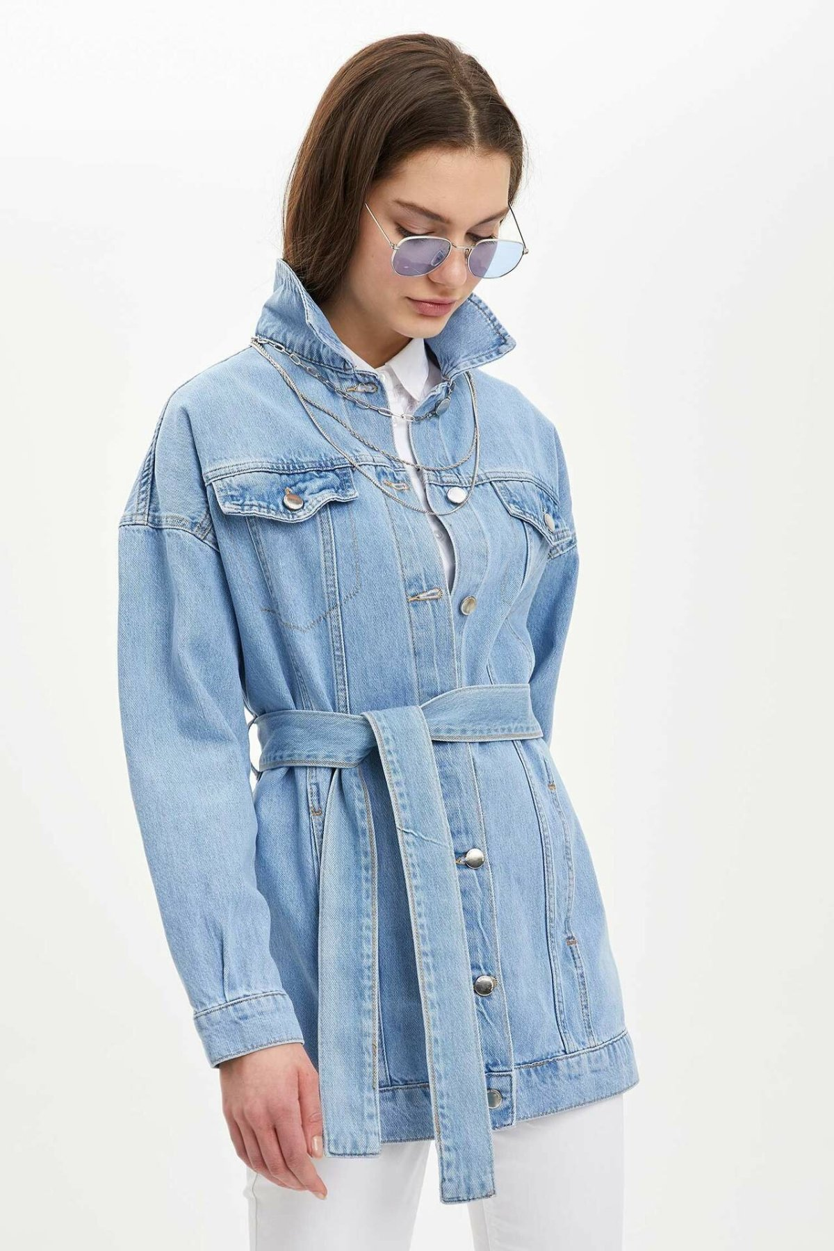 DeFacto Woman Spring Light Blue Denim Jackets Women Casual Belt Denim Coats Women Stylish Jacket-L7586AZ20SP