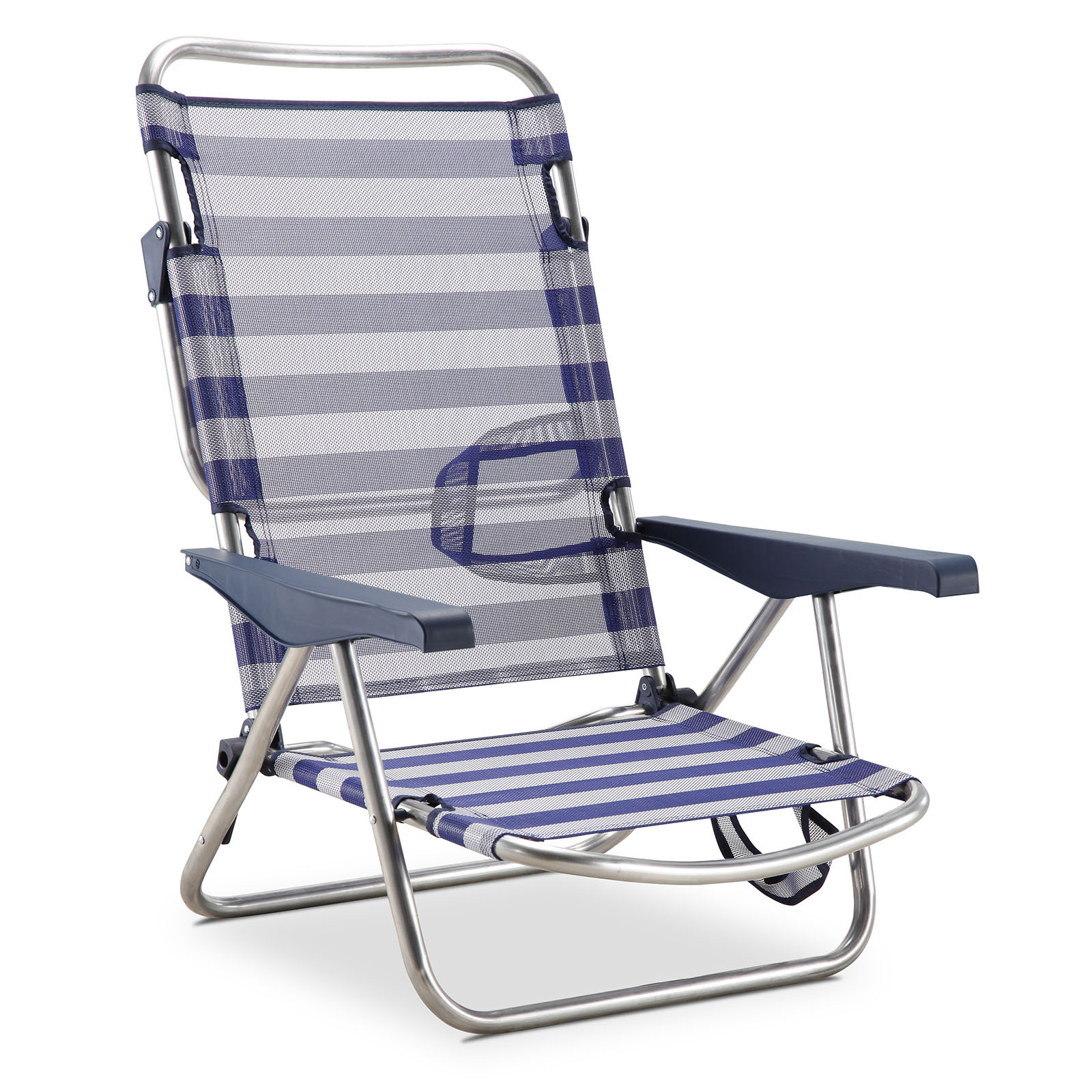 Solenny Beach Chair Bed 4 Position Blue AND White With Handles AND With Folding Leg On Backing- 50001072725168-