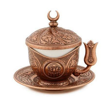 1 Pcs Turkish Coffee Cup Copper Arabic Ottoman Traditional Gift Authentic New Product with Historical Pattern Espresso Serving()
