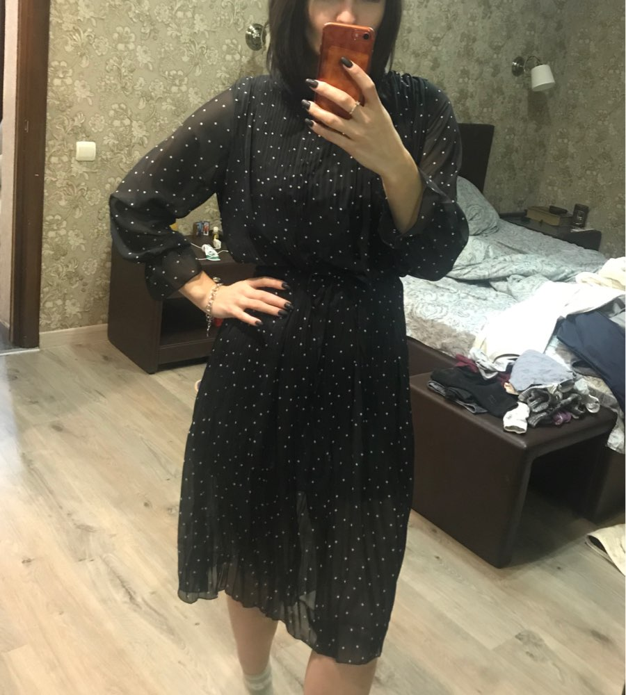 Women Chiffon Dress  Spring Autumn Female Elegant Vintage Long Sleeve Dot Pleated Dress Office Lady Casual Loose Dresses photo review