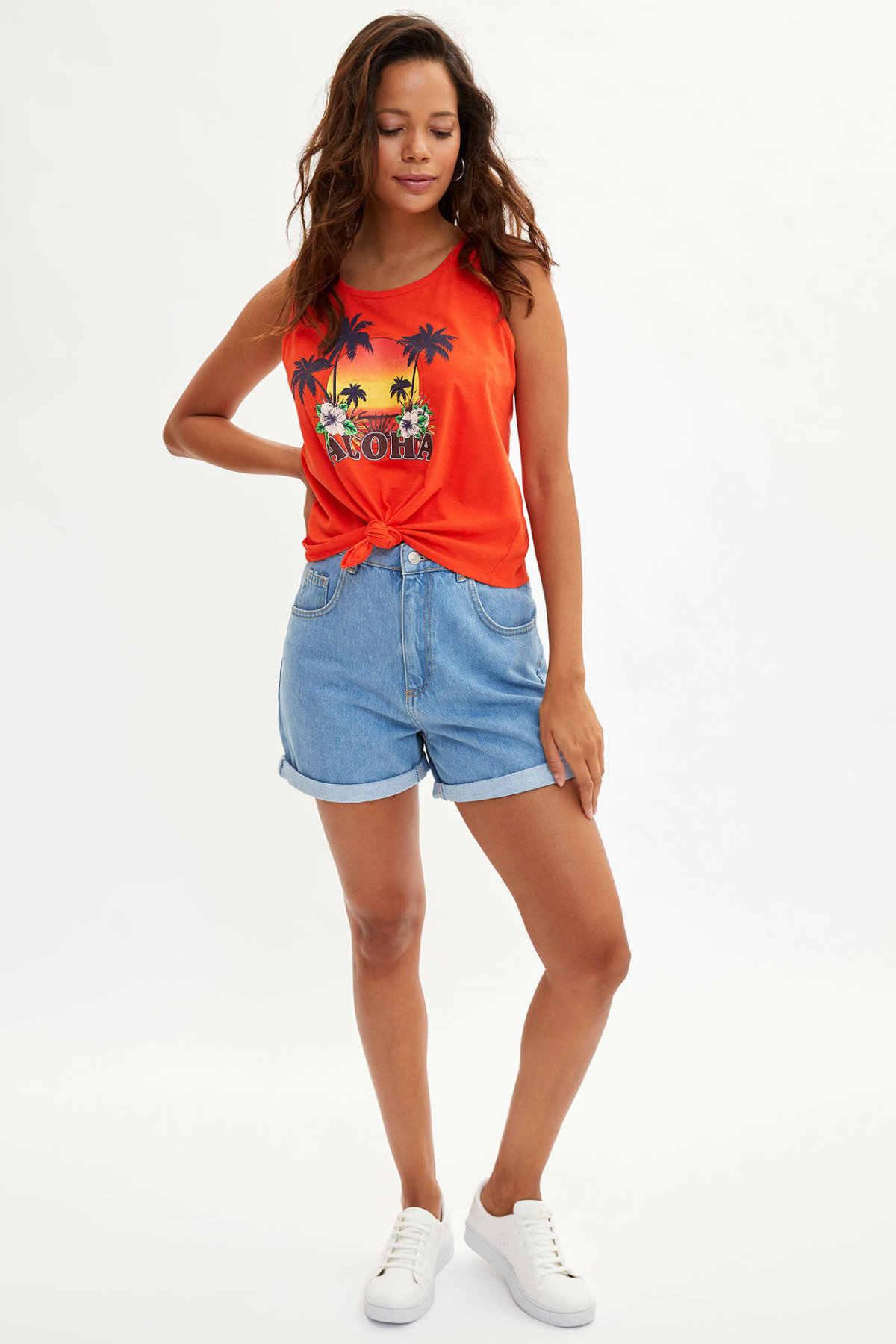 DeFacto kadın yaz o-boyun tankı kadın moda karikatür kolsuz bayanlar rahat sevimli dantel T-shirt yeni L9505AZ19HS